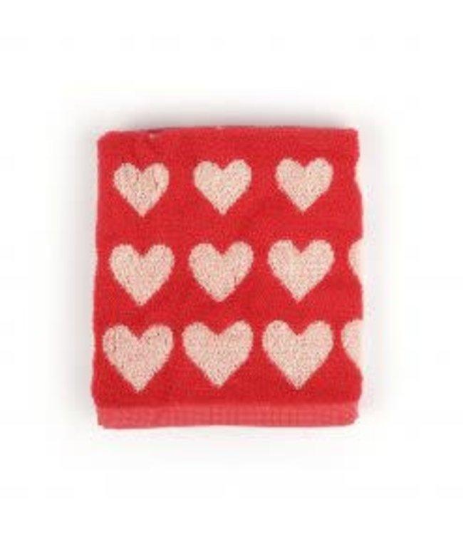 Bunzlau Castle Hearts handdoek rood  60x53 cm