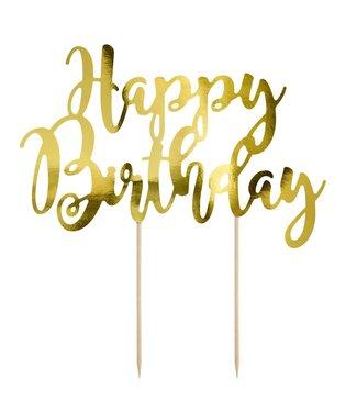 PartyDeco PartyDeco Topper Happy Birthday goud
