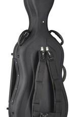 cellokoffer 4/4, gevormd, zacht schuimrubber, 2 riemen, slot, zwart