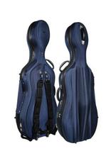 vormkoffer cello, 4/4, zacht schuimrubber, 2 wieltjes, 2 schouderriemen, slot, donkerblauw
