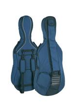 Cellohoes 4/4 of 7/8,  blauwgrijs, 23mm gevoerd, 2 riemen, diverse accessoire vakken