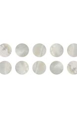 Parelmoer oogjes, Pearl eyes, makassar, white pearl, 10-pack, diameter: 6,0 mm. DOOS