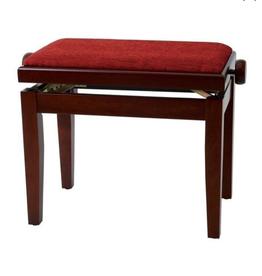 Houten bank/stoel mahonie/ rood kussen