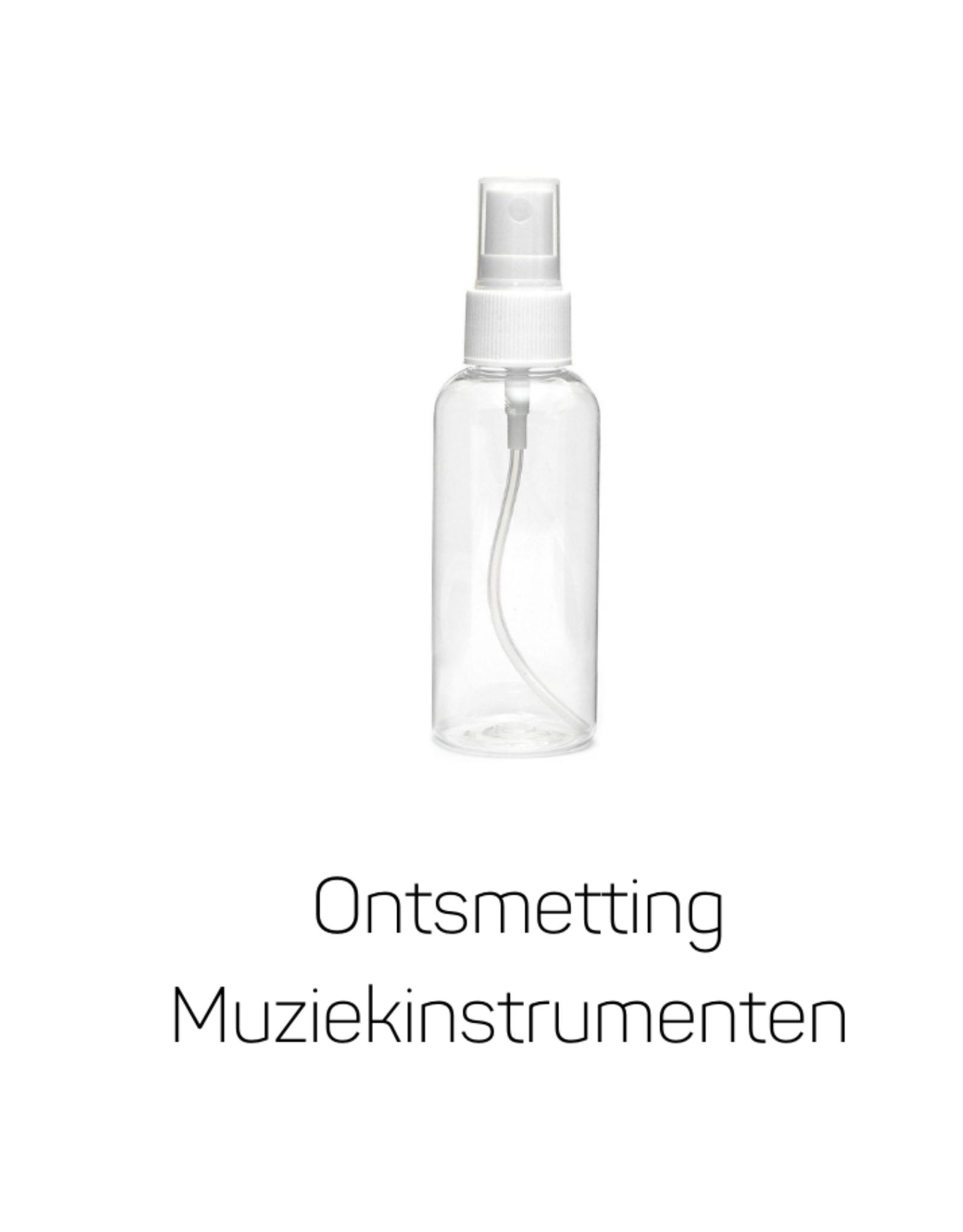 Ontsmettingsvloeistof voor Muziekinstrumenten. Veilig voor alle lakken en vernissen. 30 ml in spray