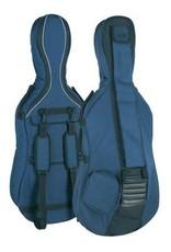 Cellohoes tas in alle maten,  blauwgrijs, 23mm gevoerd, 2 riemen, diverse accessoire vakken