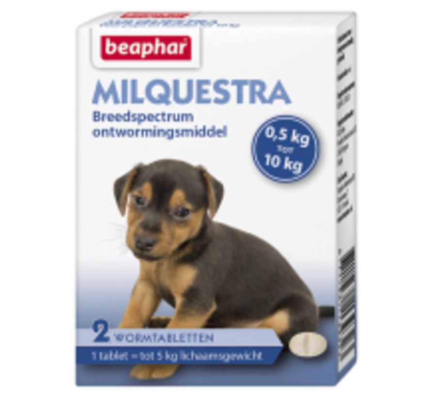 Beaphar Milquestra hond klein/ pup (0,5 tot 10 kg) 2 tabl