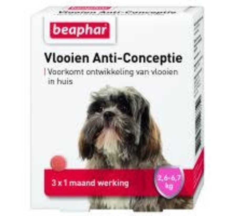 Beaphar vlooien anticonceptie hond 2,6-6,7kg 3 tabl