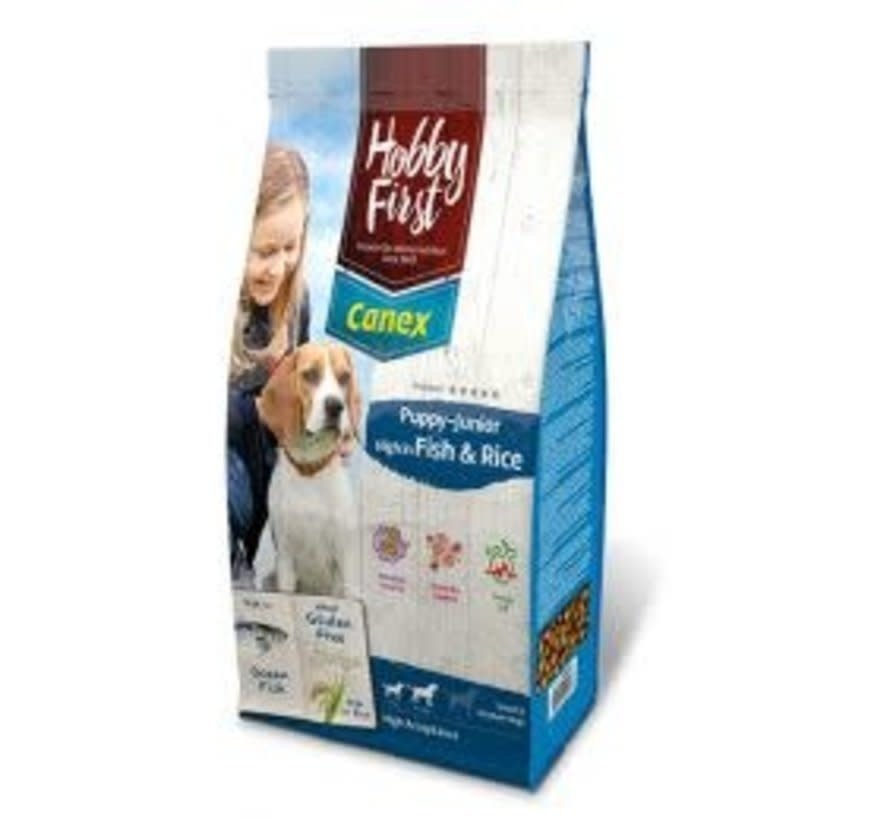Hobby First Canex puppy/junior fish&rice 12 kg