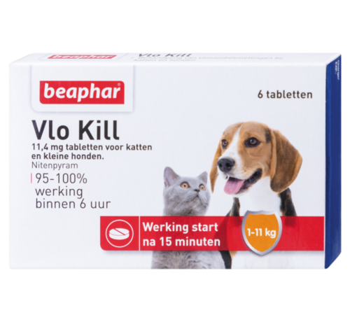 Beaphar Beaphar vlokill+ hond kat tot 11 kg 6 tabl