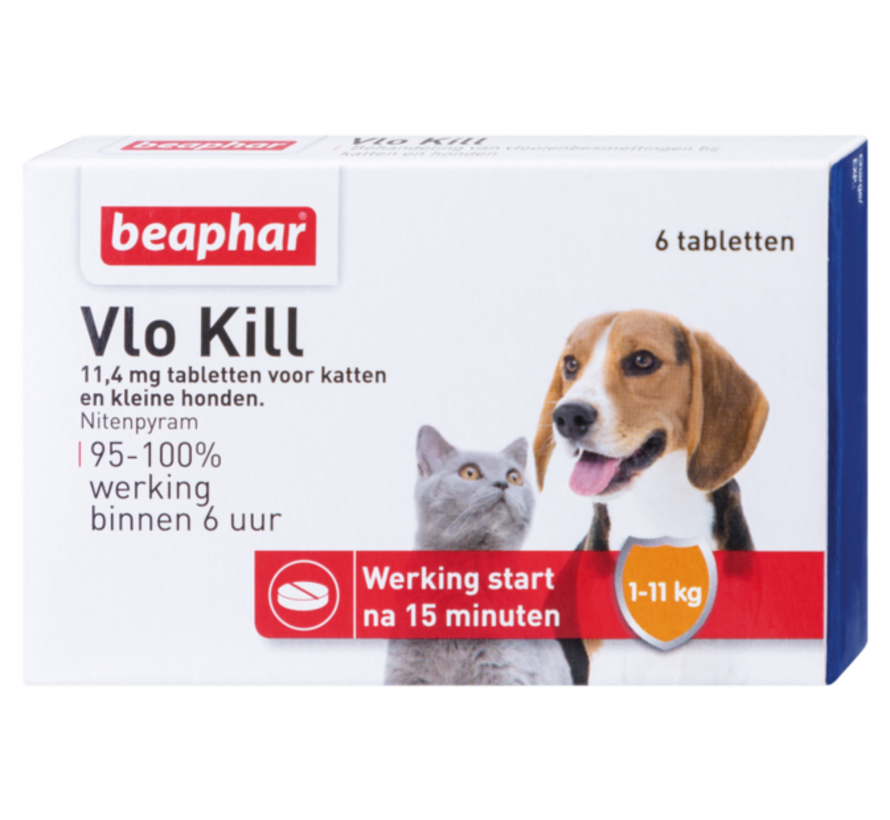 Beaphar vlokill+ hond kat tot 11 kg 6 tabl