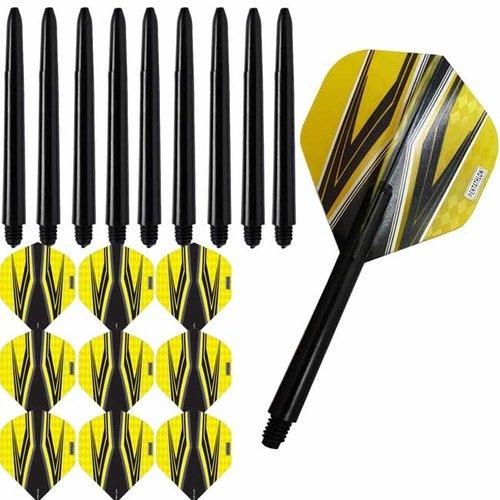 Pentathlon Pentathlon dartflights combiset spitfire zwart geel