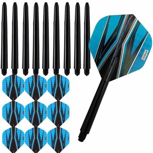 Pentathlon Pentathlon dartflights combiset spitfire zwart cyan blauw