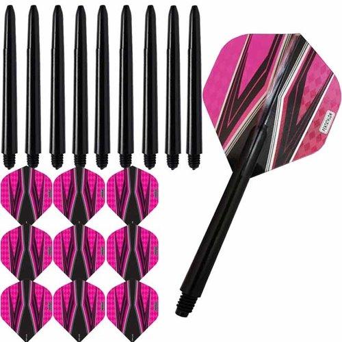 Pentathlon Pentathlon dartflights combiset spitfire zwart roze