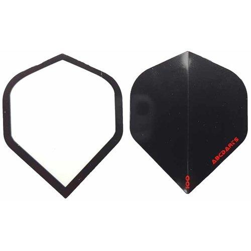 ABCDarts abcdarts dartflight 100 micron plain - zwart en wit