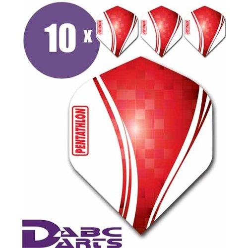 Pentathlon Dart flights pentathlon wave 10 sets (30 stuks) dartflights rood