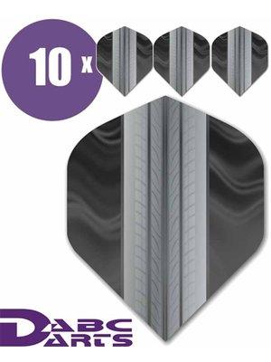 ABCDarts Metronic Dartflights - Tire Track Zwart - 10 sets