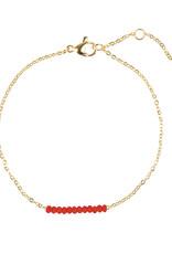 yehwang Armband met rode subtiele kraaltjes