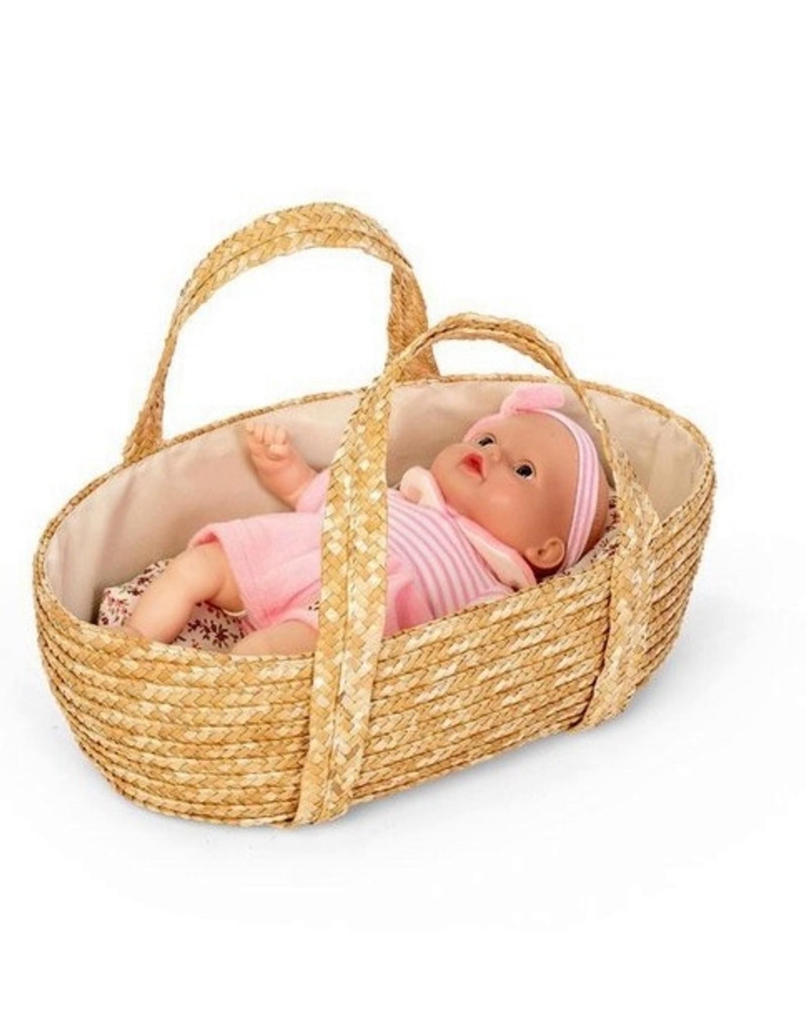 Mini Mommy Rieten Poppenreiswieg met bedsetje 35cm