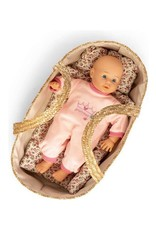 Mini Mommy Rieten Poppenreiswieg met bedsetje 50cm