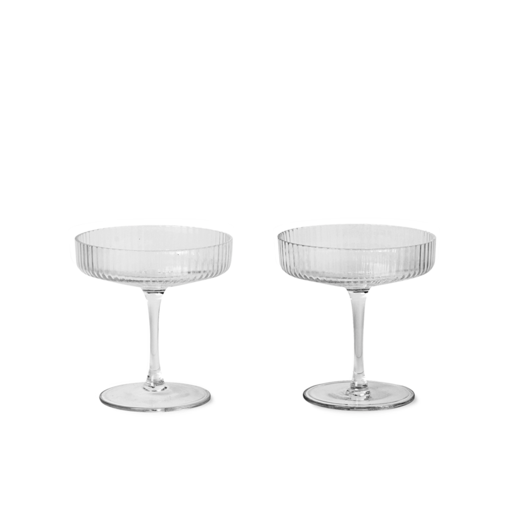 Ferm Living Ripple Champagne Saucers - set of 2 - Clear