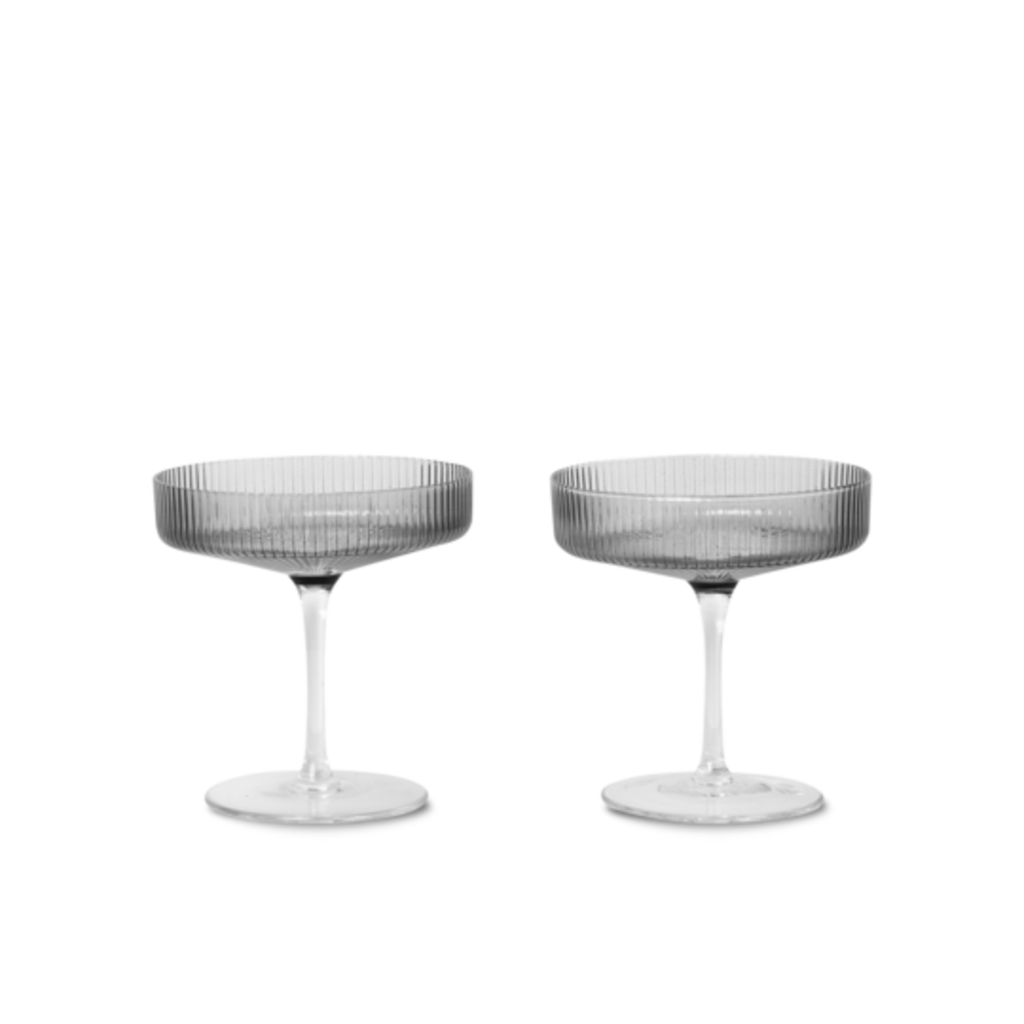 Ferm Living Ripple Champagne Saucers - set of 2 - Smoked