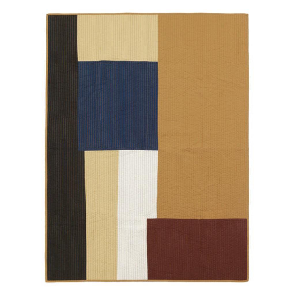 Ferm Living Shay Patchwork Quilt Blanket - Mustard
