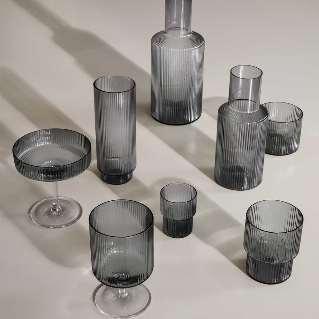 Ferm Living Ripple Glass - set of 4 - Smoked grey