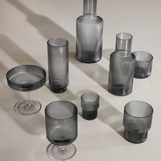 Ferm Living Ripple Small Glasses - Set of 4 - Smoked