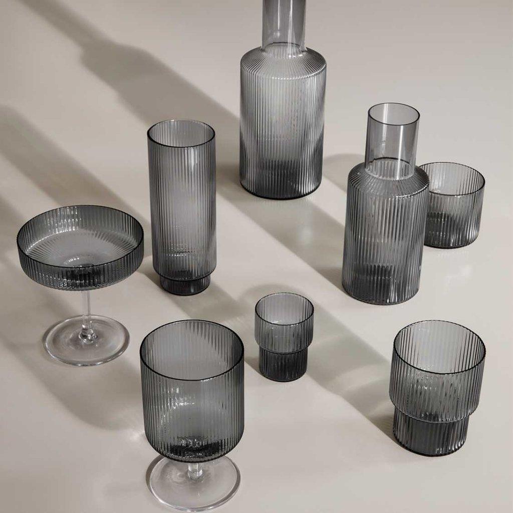 Ferm Living Ripple Wine Glasses - Set of 2  - Smoked
