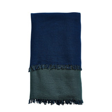 WOUD Double throw Navy blue / Forest green (Approx. 125 x 180 cm)