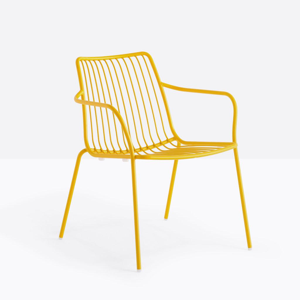 Pedrali Armchair NOLITA LOUNGE 3659, yellow powder coated for outdoor (GI100)