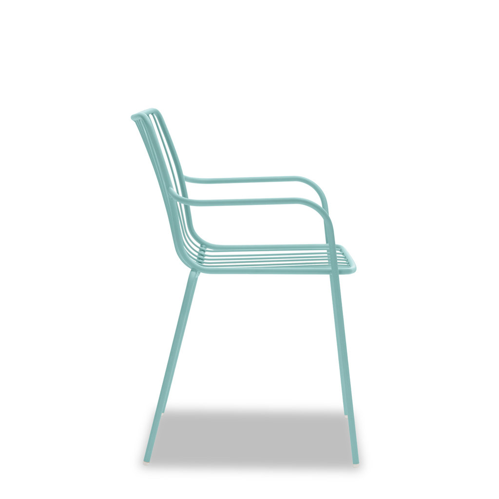 Pedrali Armchair NOLITA with low back, light blue powder coated for outdoor (AZ100) - SHOWROOM MODEL