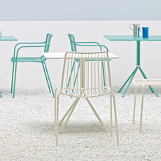 Pedrali Armchair NOLITA with low back 3655, light blue powder coated for outdoor (AZ100)