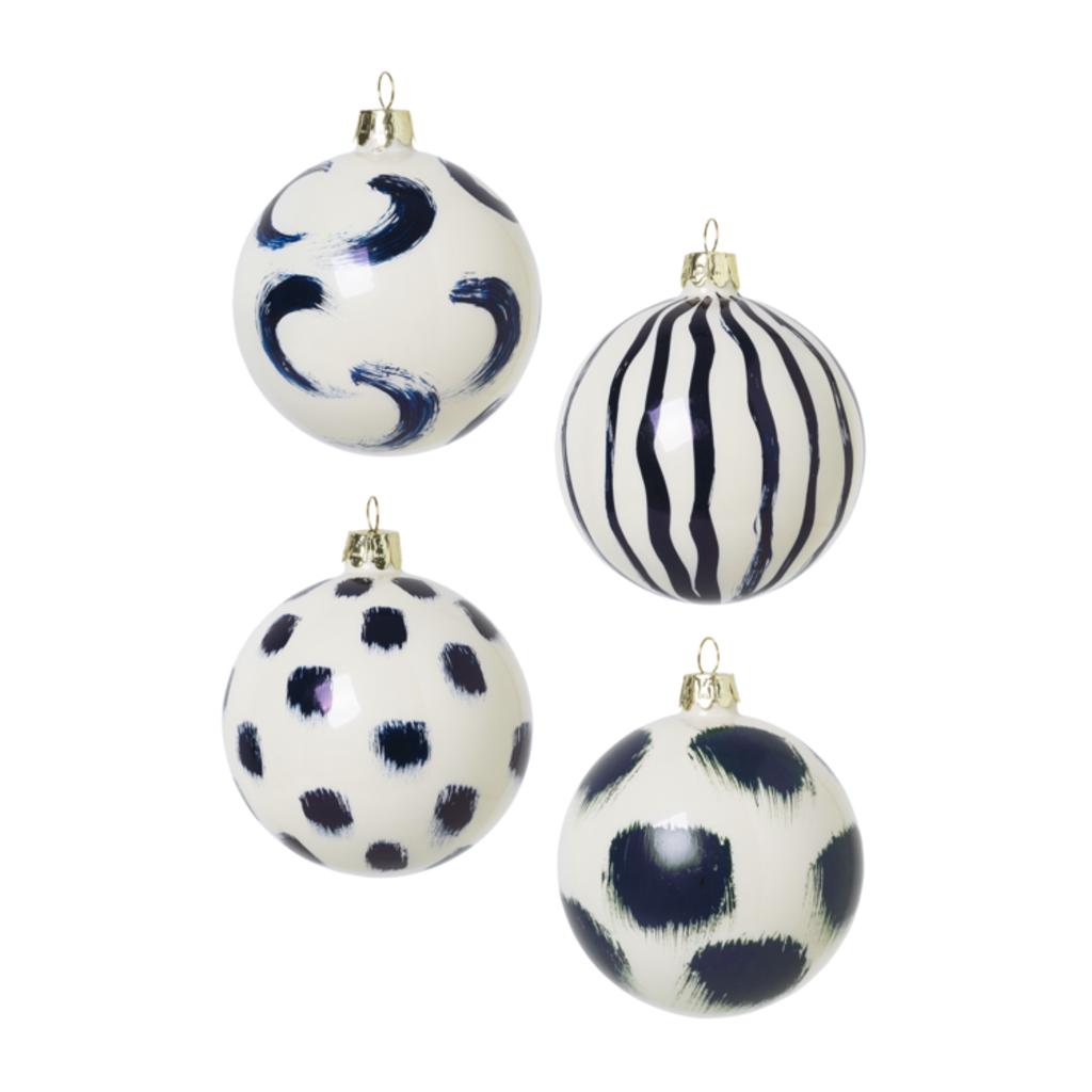 Ferm Living Christmas Glass Ornament 4 pcs - Blue