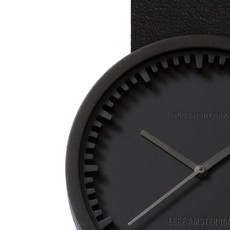 LEFF amsterdam Tube watch D38 | black | black leather strap