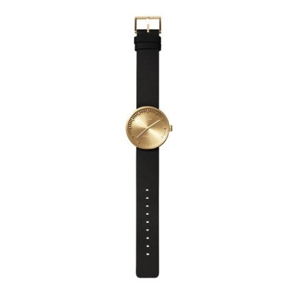 LEFF amsterdam Tube watch D38 | brass | black leather strap