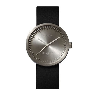 LEFF amsterdam Tube watch D38 | steel | black leather strap