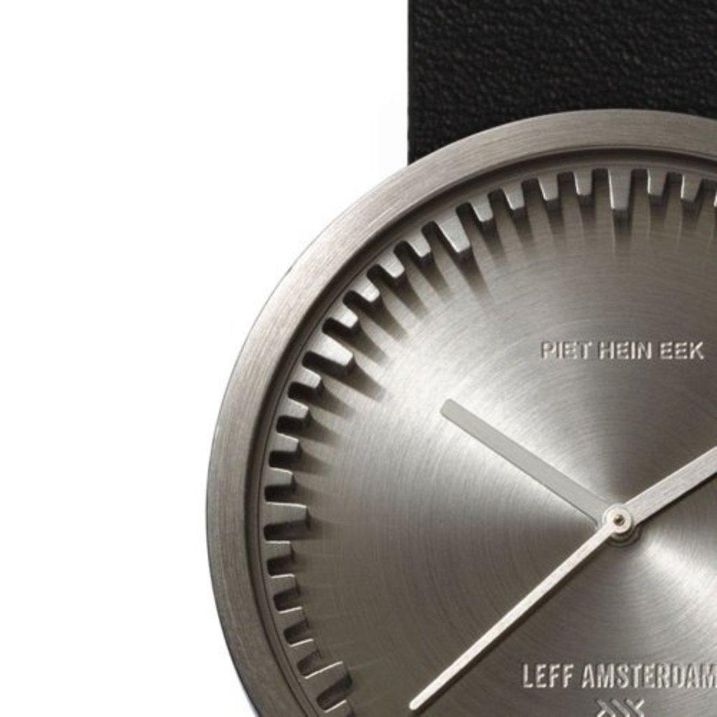 LEFF amsterdam Tube watch D38 | steel | black leather strap