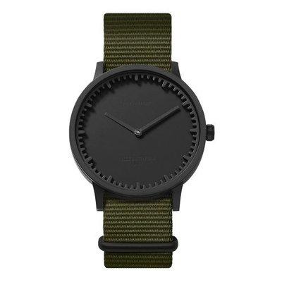 LEFF amsterdam Tube watch T40 | black case | green nato strap