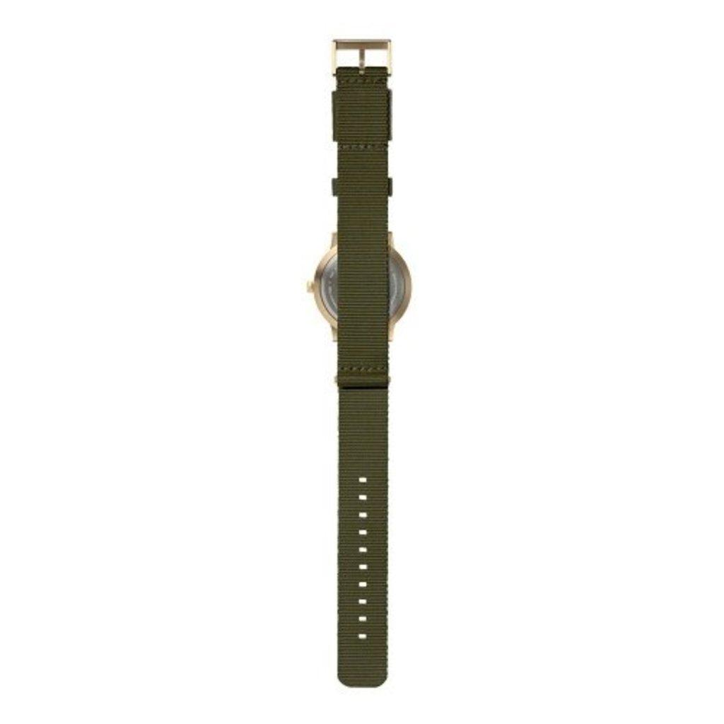 LEFF amsterdam Tube watch T40 | brass case | green nato strap