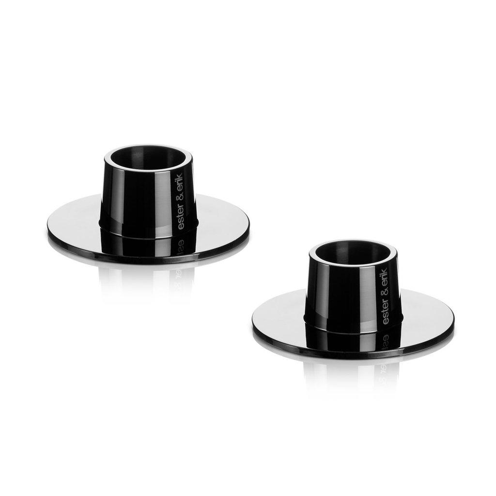 Ester & Erik Candle Holder - medium - SHINY BLACK - 2 stuks