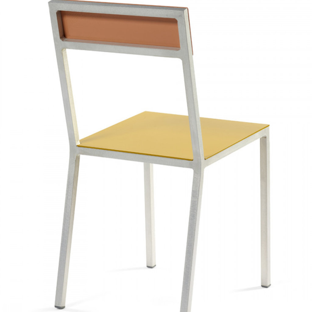 Valerie Objects ALU CHAIR 52,5X38 H80 YELLOW SEAT/PINK BACK