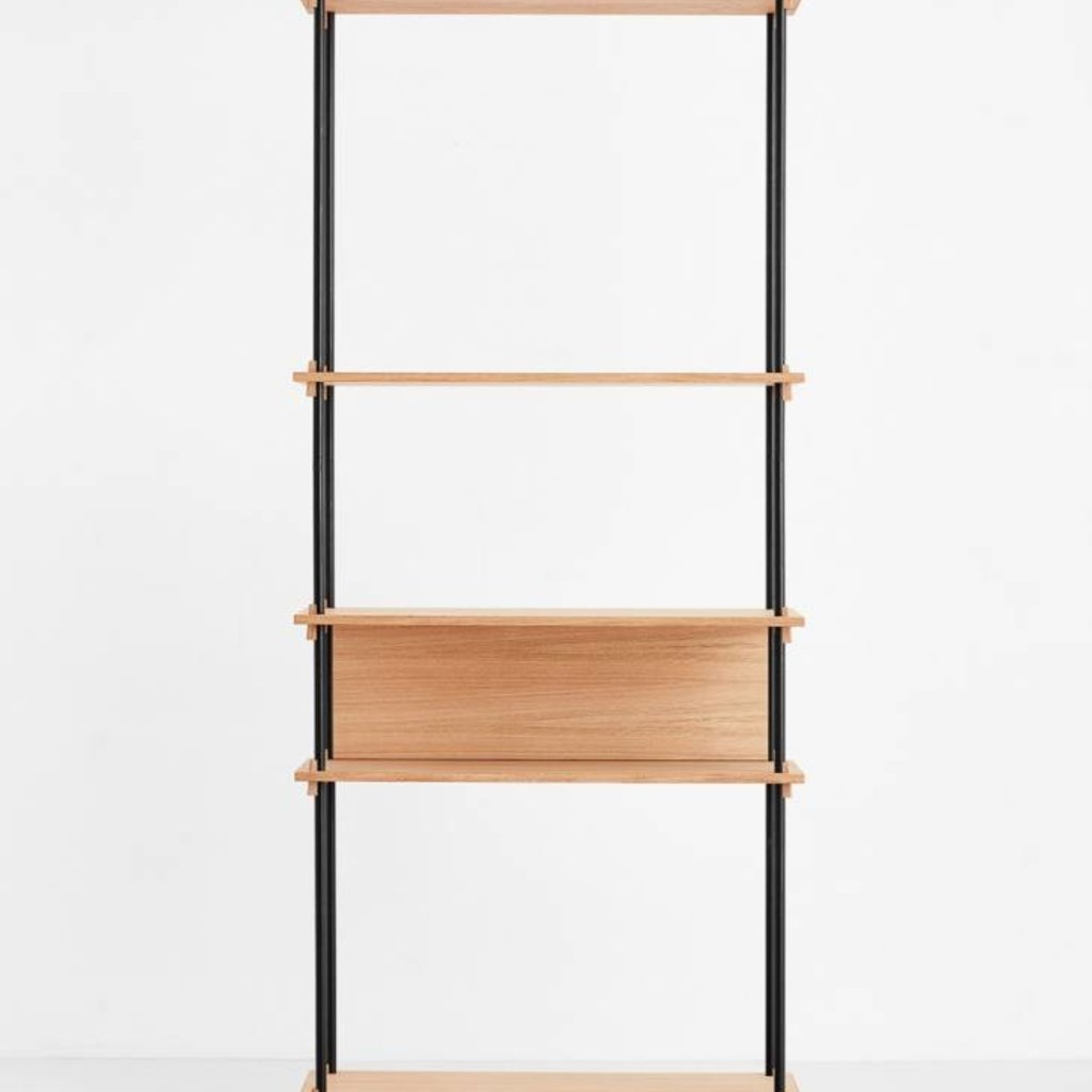 Moebe Shelving System Tall single, oak