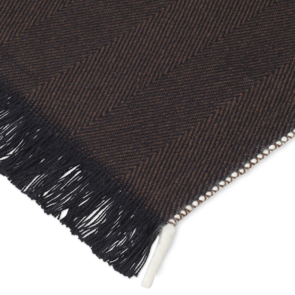 Ferm Living Herringbone Blanket - Dark Coffee