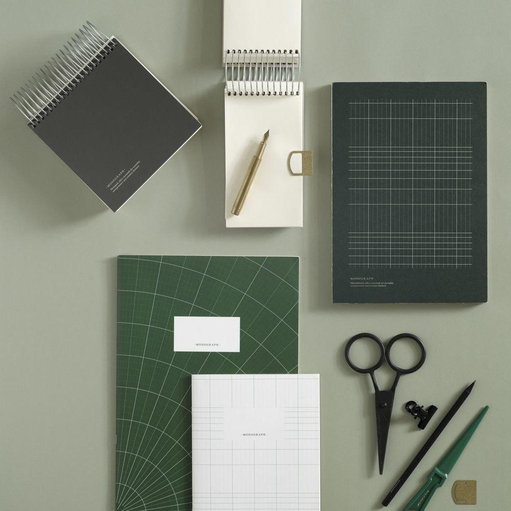 Monograph Note Book - geometric, Dark Green