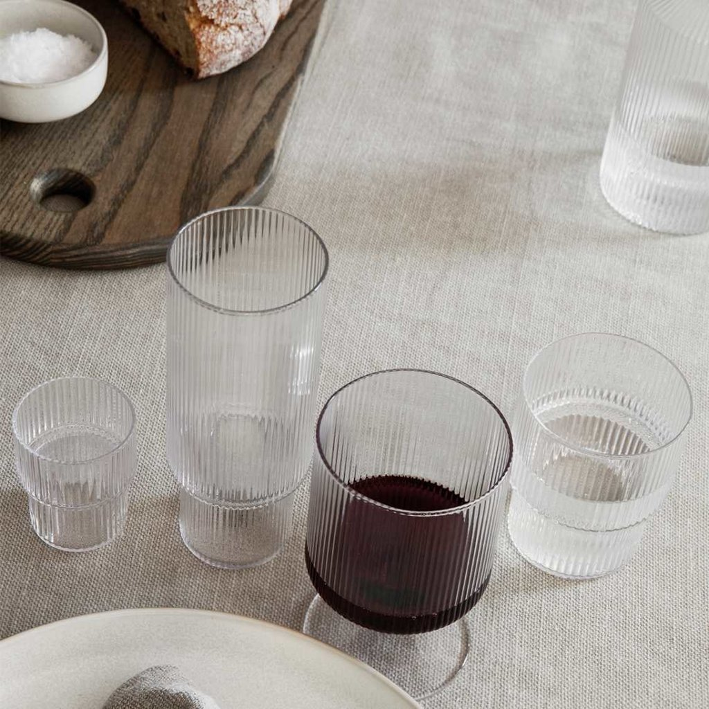 Ferm Living Ripple Wine Glasses - Set of 2  - Clear