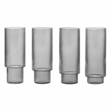 Ferm Living Ripple Long Drink Glasses - set of 4 - Smoked Grey