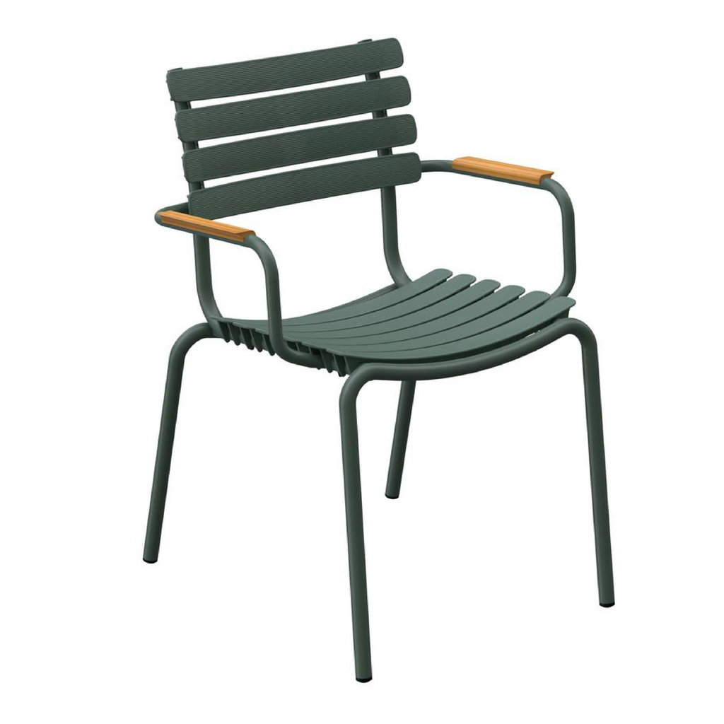 Houe Reclips Dining Chair - Olive Green, bamboo armrests