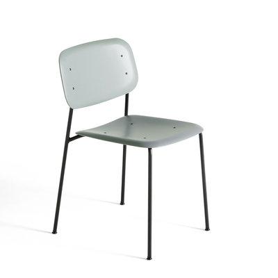 HAY Soft EdgeP10 Chair Black steel base Dusty green polypropylene shell