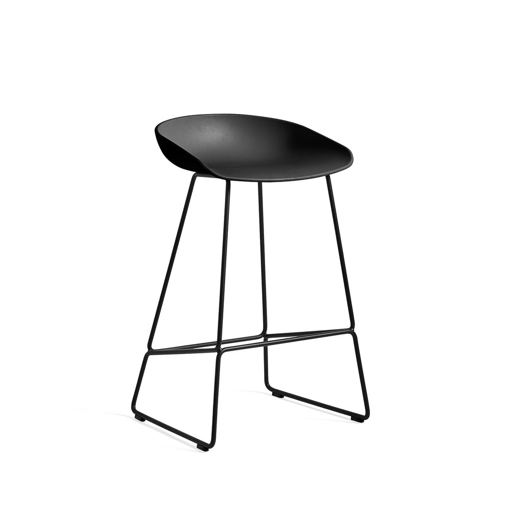 HAY AAS38 (About A Stool38) -  Black Low Black shell w. felt glider H64